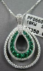 .78ct Diamond And Aaa Emerald 18kt White Gold 3d Double Tear Drop Floating Pendant