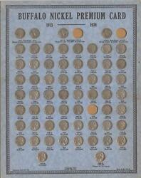 1913 To 1938-d Buffalo Nickel Collection | 1938 Oberwise Coin Card | 61 Coins