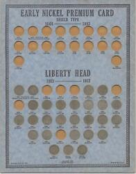 1883 To 1912-d V Nickel Collection   1938 Oberwise Coin Card   27 Coins