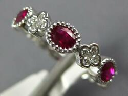 .96ct Diamond And Aaa Ruby 18kt White Gold Oval Flower Filigree Anniversary Ring