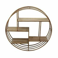 Round Metal Framed Wall Shelf With Four Wooden Display Spaces Gold And Brown