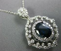 Large 4.7ct Diamond And Aaa Sapphire 14k White Gold Oval Filigree Floating Pendant