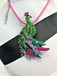 Betsey Johnson Jewelry Peacock Colored Crystal Fan And Body Pink Leather Choker