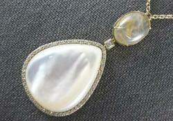 Large Diamond And Aaa Mother Of Pearl And Rutilated Quartz 14k Rose Gold 3d Necklace