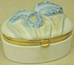 Vintage Porcelain And Brass Blue Orchid Trinket Box Fitz And Floyd ©ff 1983