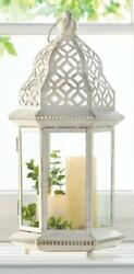 BULK LOTS Large Distressed White Iron Pillar Candle Lanterns with Clear Glass
