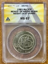 Mexico 1981 20 Peso Error Anacs Ms62 Struck On Wrong Blank Likely A 5 Peso