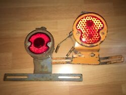 2 Antique Folite And Taurus Car Park Light Ruby Lens Late 20s Early 30s