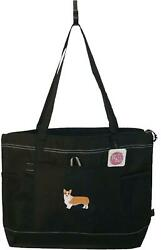 Pembroke Welsh Corgi Puppy Dog Monogram Bag Black Gemline Zipper Tote Adopt Gift $15.25