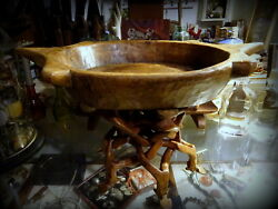 Antique Indian Carved Wooden Chapati Primitive Bowl On Stand