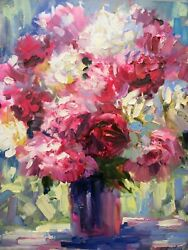 Painting, Canvas, Artwork. The Flowers. Peonies. Figol. Oil Paint Canvas