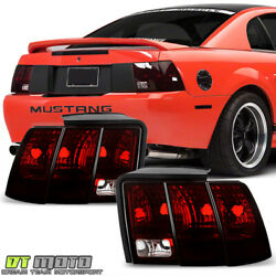 1999-2004 Ford Mustang Red Smoked Tail Lights Rear Brake Lamps Pair Left+right