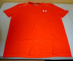 Under Armour Heat Gear Mens Compression Athletic Shirt Small Short Sleeve Orange