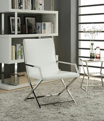 Acme Furniture Rafael - Accent Chair White Pu And Stainless Steel