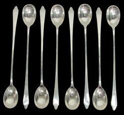 And Co Clinton 8 Sterling Silver 7 1/2 Iced Tea Spoons No Mono