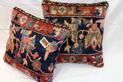 19th Century Handmade Pillows Made Out Of Antique Mahal Rug Leather Backing