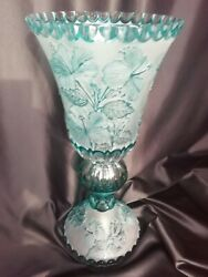Monumental 20and039and039 Tall Czech Art Nouveau Hand Engraved Cameo Glass Huge Vase Aqua