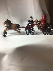 Antique Cast Iron Horse Drawn Fire Engine Toy Collectible
