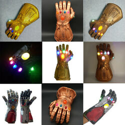Thanos Iron Man Infinity War Gauntlet Gloves w LED Light For Marvel Avengers