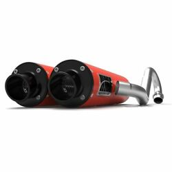 Hmf Performance Can-am Red Dual Full System Exhaust Black End Cap Renegade 1000