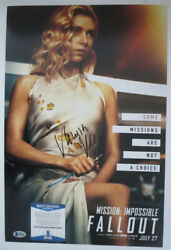 Vanessa Kirby Signed 12x18 Photo Mission Impossible Widow Poster Beckett Bas