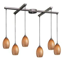 Elkgroup International Mulinello 6 Light Pendant In Satin Nickel And Cocoa Glass