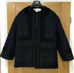 Valentino Womens Navy Lace Detail Coat Jacket Uk 6 It38 Bnwt Rrp Andpound3790