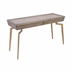Elk Home Larocca Console Table In Soft Gold And Grey Birch Veneer