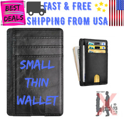 Small Slim Wallet Black Faux Leather RFID Blocking Credit Card Holder Saw Design $9.49