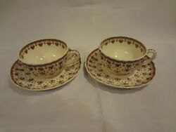 Spode China - Fleur De Lys Brown - Pair Of Cups And Saucers