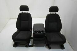 12-13 Sierra 1500 Pickup Front Left Power Right Manual Console Seat Black Cloth2