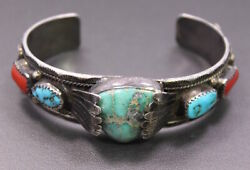 Vintage Julius Ahasteen Sterling Silver And Inlay Native American Cuff Bracelet
