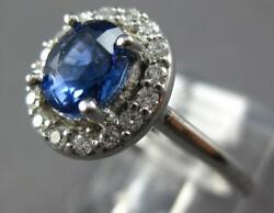 1.62ct Diamond And Aaa Sapphire 14k White Gold 3d Oval Halo Flower Engagement Ring