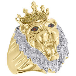10k Yellow Gold Mens Diamond Lion Crown King Pinky Ring 33mm Pave Band 0.45 Ct.