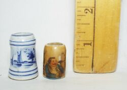 2 Old Antique Miniature Hand Painted Beer Mugs Steins Sailboats Windmill Sausage