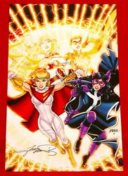 Power Girl / Huntress / Supergirl / Robin Print Signed By Artist George Perez