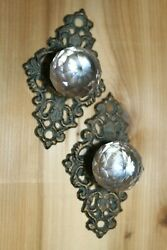 Antique Style Glass Knob Cabinet Pulls 3 Inch Center Cast Iron Backplate Hw-62