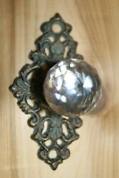 Antique Style Cast Iron Backplate Glass Knob Cabinet Pulls 3 Inch Center Hw-62