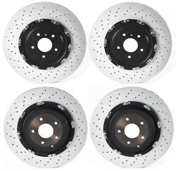 Front Rear Brake Disc Rotors Drilled Floating Coated Kit Brembo For Nissan Gt-r