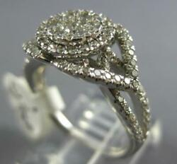 Wide 1.0ct Diamond 14kt White Gold 3d Halo Flower Double Heart Anniversary Ring