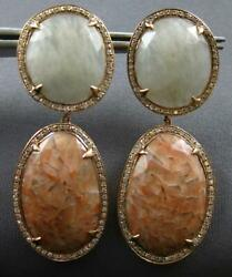 Diamond And Rutilated Quartz And Agate 14k Rose Gold Round And Oval Hanging Earrings