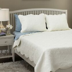 Quilt Set Twin Bedding Ivory Off White Cotton Comforter Bed Cover Scalloped Edge