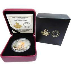 2018 Canadian Majestic Wildlife Courageous Cougar 1 Oz .9999 Silver Proof Coin