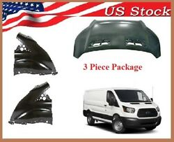 Fits 2015 To 2019 Ford Transit Hood Fender Package 3 Piece Free Shipping
