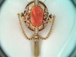Antique Victorian Very Large 14k Gold Carved Coral Cameo Pendant Necklace 42.6g
