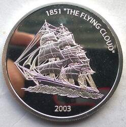 Liberia 2003 Flying Cloud10 Dollars Silver Coinproof