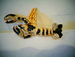 Vintage Figural Lobster Rinestone Pin Brooch With Sticker