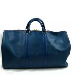 Vintage AUTHENTIC Louis Vuitton Boston Bag Keepall 50 Blue Epi Leather