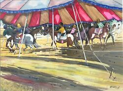 Child Pony Ride At A Carnival 18 X 24 W/c.painting-1981-james Carlin
