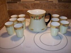 Signed Limoge France And Artist Signed Sutherland Juice Pitcher And Glassesandhellippreowned